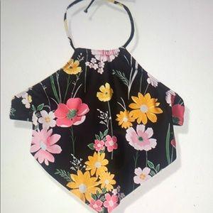 Hobie Black Floral Halter Top NWT Medium